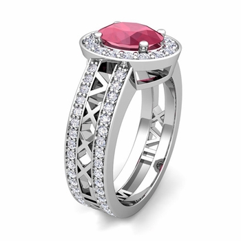 Build Halo Setting Roman Numeral Gemstone Diamond Engagement Ring