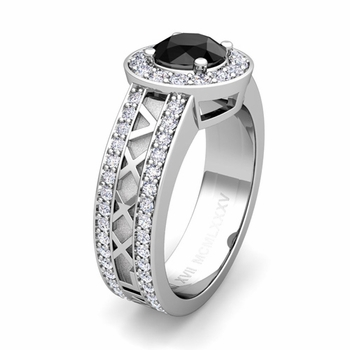Build Roman Numeral Halo Engagement Ring with Diamond and Gemstone