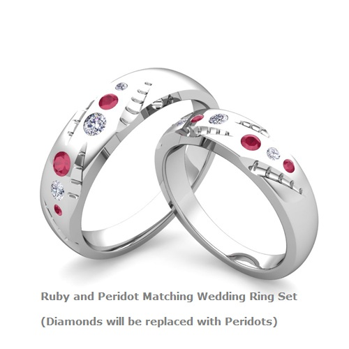 Custom Ruby And Peridot Matching Wedding Bands In 14k White Gold