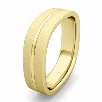 Customized Square Wedding Band Ring in Gold or Platinum