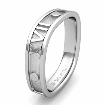 Custom Square Roman Numeral Wedding Band in Gold or Platinum