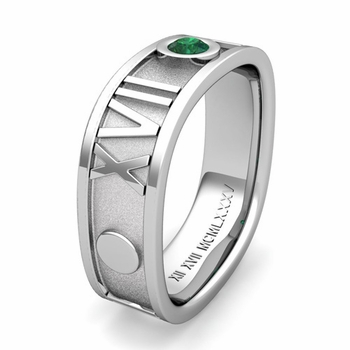Custom Square Roman Numeral Wedding Band with Diamond or Gemstone, 7mm
