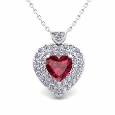 Custom Two heart Diamond and Gemstone Necklace in 14k, 18k Gold