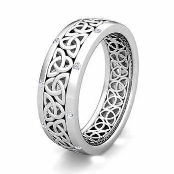 Customize Classic Celtic Wedding Band Ring with Gemstones and Diamonds