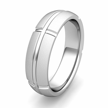 Customized Wedding Band Ring with Brick Details in Gold or Platinum