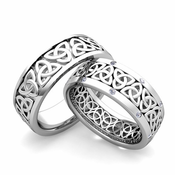 Build Classic Celtic Wedding Band for Him and Her with Diamonds and Gemstones