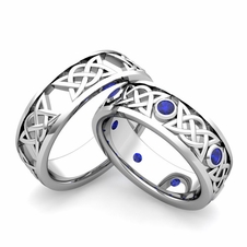 His Hers Celtic Wedding Band 14k Gold Sapphire Comfort Fit Ring