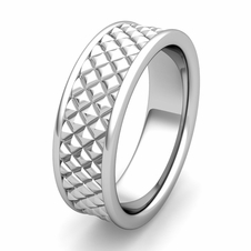 Diamond Cut Mens Comfort Fit Wedding Band in Gold or Platinum