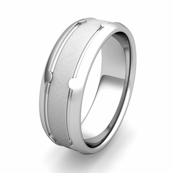 Customized Unique Comfort Fit Wedding Band Ring in Gold or Platinum