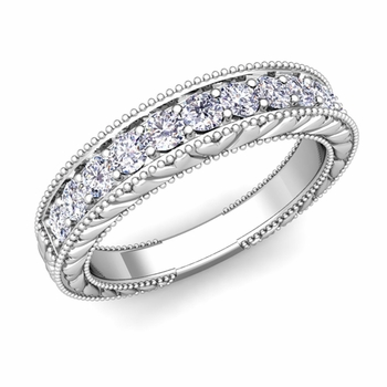 Build Wedding Band in Vintage Inspired Wedding Ring Setting with Diamonds and Gemstones