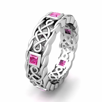 Customize Celtic Knot Wedding Band Anniversary Ring with Diamonds and Gemstones