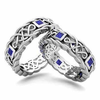 Customize Celtic Knot Wedding Ring Band for Him and Her with Diamonds and Gemstones