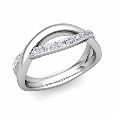 Customized Infinity Wedding Band Anniversary Ring with Diamonds and Gemstones
