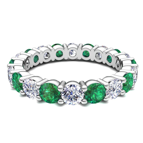 eternity custom emerald bands u idj and diamond band with dsc prong gallery cut