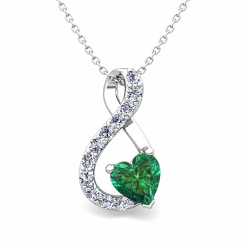 Diamond and Emerald Heart Necklace in 14k Gold Infinity Pendant