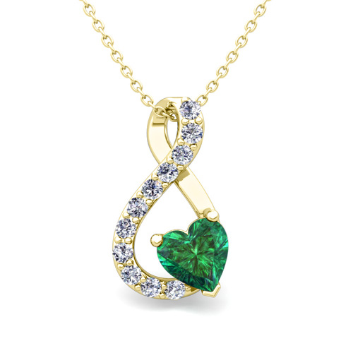 Diamond and emerald heart necklace in 18k gold infinity pendant aloadofball Gallery