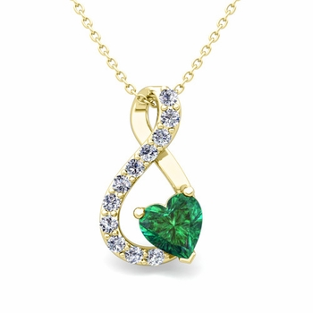 Diamond and Emerald Heart Necklace in 18k Gold Infinity Pendant