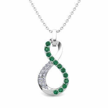 Diamond and Emerald Necklace in 14k Gold Infinity Pendant