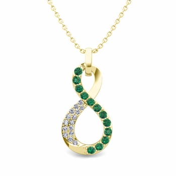 Diamond and Emerald Necklace in 18k Gold Infinity Pendant