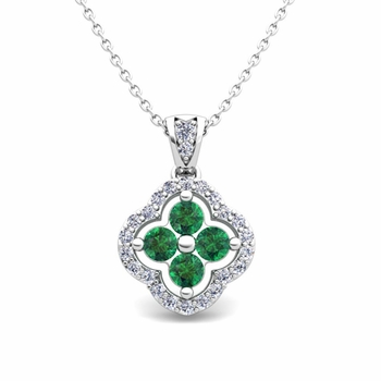 Diamond and Emerald Pendant in 14k Gold Clover Necklace