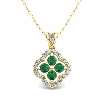 Diamond and Emerald Pendant in 18k Gold Clover Necklace