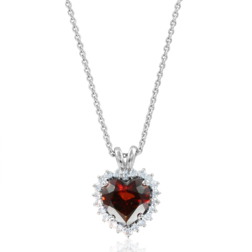 Garnet and diamond heart pendant in 14k white gold chain necklace order now ships on monday 115order now ships in 14 business days diamond and garnet heart necklace aloadofball Images