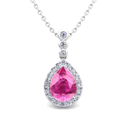 Diamond and Pear Pink Sapphire Necklace in 14k Gold 3 ...