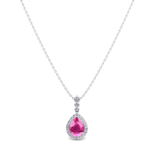 Diamond and pear pink sapphire necklace in 14k gold 3 stone pendant order now ships on thursday 104order now ships in 14 business days diamond and pear pink sapphire necklace in 14k gold 3 stone diamond pendant aloadofball Gallery