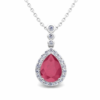 Diamond and Pear Ruby Necklace in 14k Gold 3 Stone Diamond Pendant