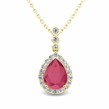 Diamond and Pear Ruby Necklace in 18k Gold 3 Stone Diamond Pendant