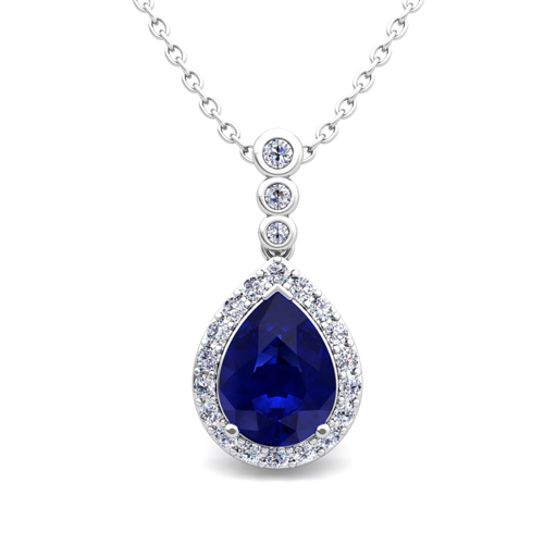Diamond and pear sapphire necklace 14k gold 3 stone diamond pendant diamond and pear sapphire necklace in 14k gold 3 stone diamond pendant mozeypictures Choice Image