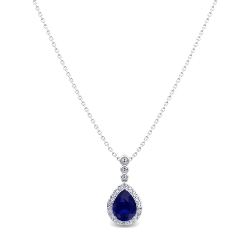 Diamond and pear sapphire necklace 18k gold 3 stone diamond pendant order now ships on wednesday 627order now ships in 5 business days diamond and pear sapphire necklace aloadofball Image collections
