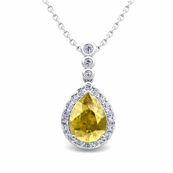 Diamond and Pear Yellow Sapphire Necklace in 14k Gold 3 Stone Diamond Pendant