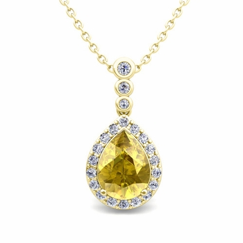 Diamond and Pear Yellow Sapphire Necklace in 18k Gold 3 Stone Diamond Pendant