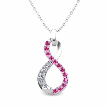 Diamond and Pink Sapphire Necklace in 14k Gold Infinity Pendant