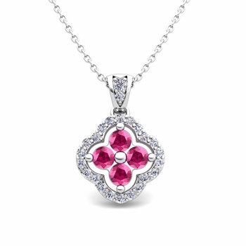 Diamond and Pink Sapphire Pendant in 14k Gold Clover Necklace