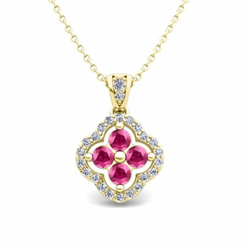 Diamond and Pink Sapphire Pendant in 18k Gold Clover Necklace