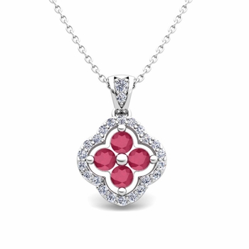Diamond and Ruby Pendant in 14k Gold Clover Necklace