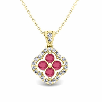 Diamond and Ruby Pendant in 18k Gold Clover Necklace