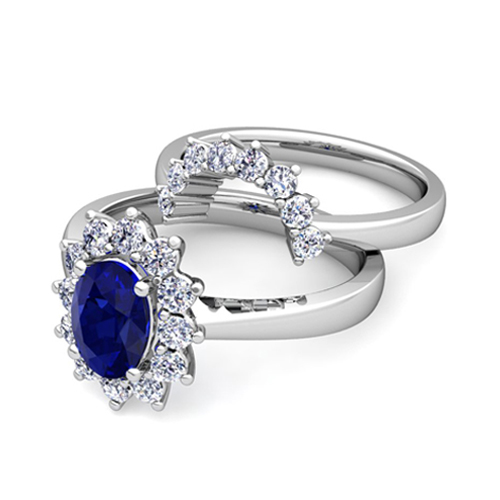 diamond and sapphire diana engagement ring bridal set 14k
