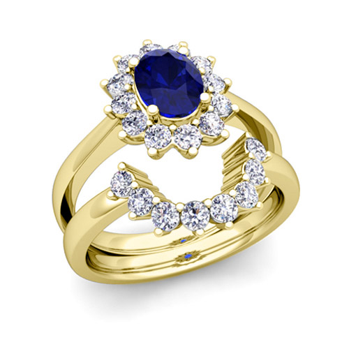 Diamond and Sapphire Diana Engagement Ring Bridal Set 14k Gold 9x7mm
