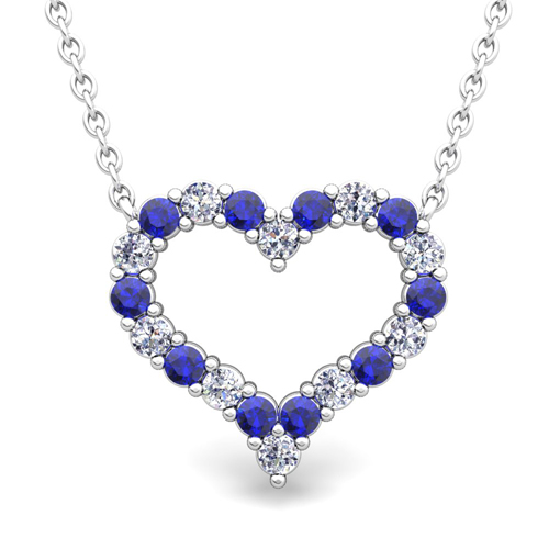 Pave diamond and sapphire heart necklace in 18k gold pendant order now ships on friday 824order now ships in 14 business days pave diamond and sapphire heart necklace aloadofball Gallery