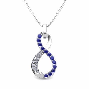 Diamond and Sapphire Necklace in 14k Gold Infinity Pendant