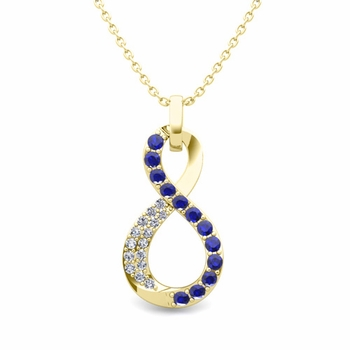 Diamond and Sapphire Necklace in 18k Gold Infinity Pendant
