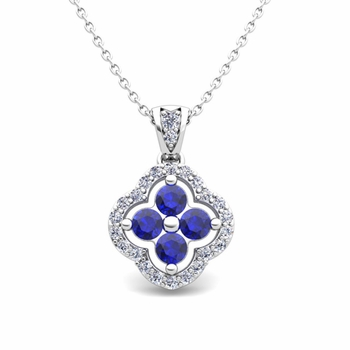 Diamond and Sapphire Pendant in 14k Gold Clover Necklace