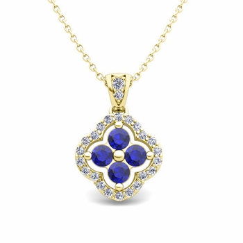 Diamond and Sapphire Pendant in 18k Gold Clover Necklace