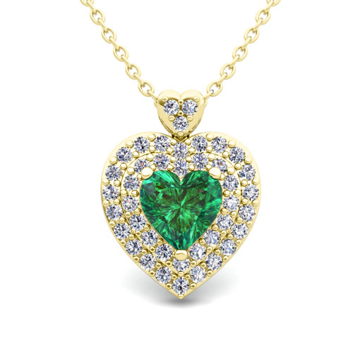 Two heart diamond and emerald necklace in 14k gold pendant order now ships on thursday 823order now ships in 14 business days aloadofball Choice Image