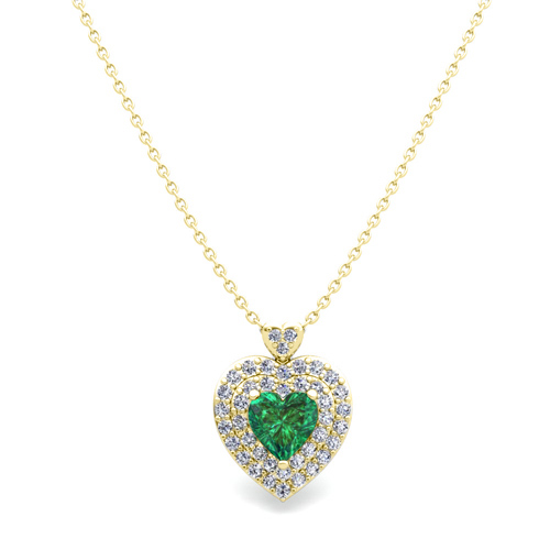 Two heart diamond and emerald necklace in 14k gold pendant order now ships on thursday 104order now ships in 14 business days two heart diamond and emerald necklace in 14k gold pendant aloadofball