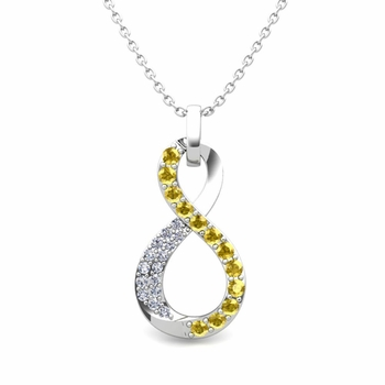 Diamond and Yellow Sapphire Necklace in 14k Gold Infinity Pendant