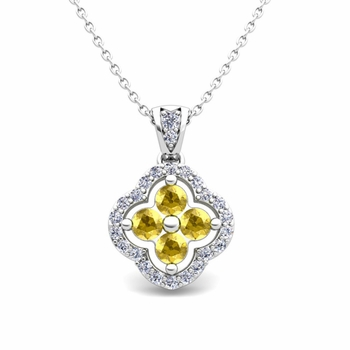 Diamond and Yellow Sapphire Pendant in 14k Gold Clover Necklace